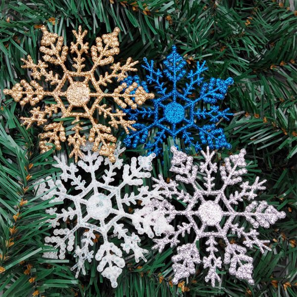 Plastic Glitter Snowflake Christmas Tree Ornaments 12Pcs/Lot Snow Pendants Christmas Decorations New Year Xmas Home Party Decoration AAA1340