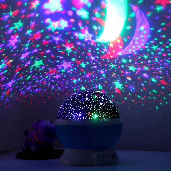 Projector Star Night Light Starlight Button 360 Degree Rotating LED Light Colorful Christmas Halloween Best Gift