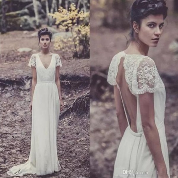 Gorgeous Deep V Neck Wedding Dresses Lace Backless Plus Size Bridal Gowns Short Sleeves Beach A Line Wedding Gowns Custom Made