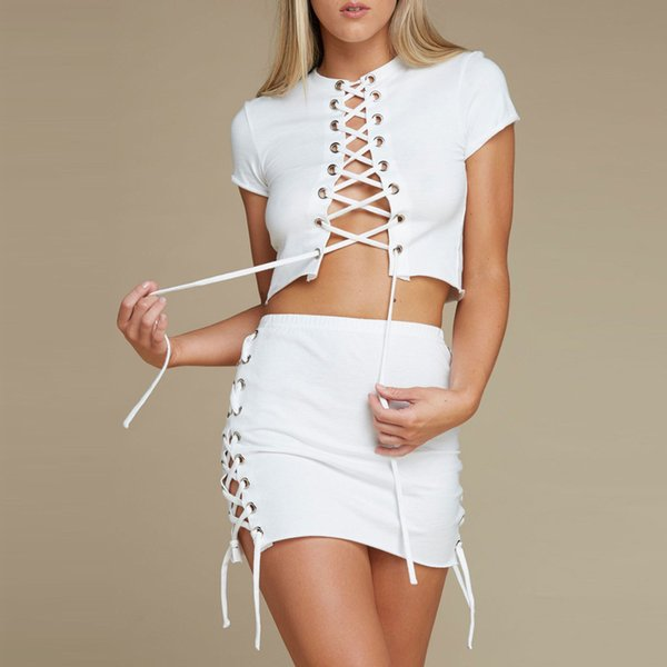 9550a8b09fb499 White Two Pieces Set Women Solid Tight Drawstring crop top women Sexy  Package Hip Skirt Clothing