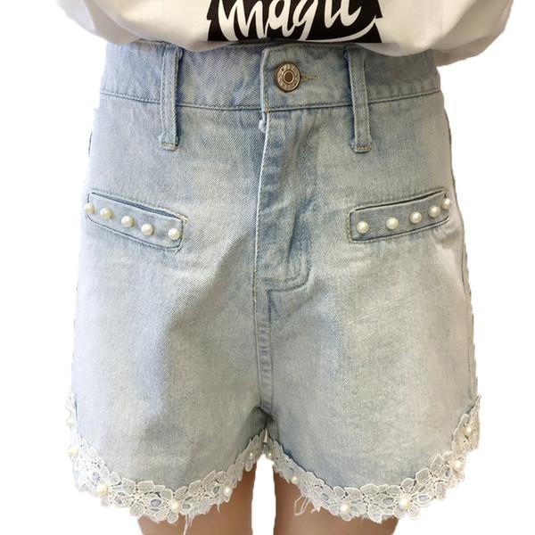 Woman Summer Denim Shorts Light Blue Wash Jeans Short Women Beaded Denim Bottoms Girl Plus Size Street Look Lace Hem Jeans Short