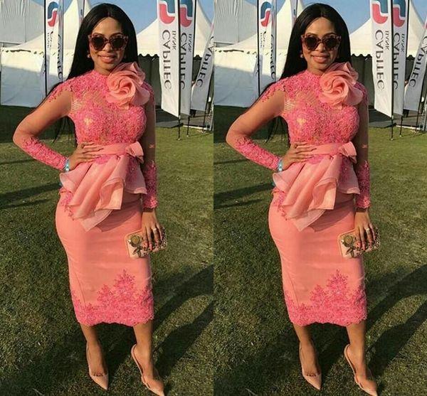 Afrikanische Cocktailkleider 2018 Long Sleeves Lace Appliques Short Tee Länge Bogen Blumen Party Graduation Prom Kleid Formale Homecoming Kleider