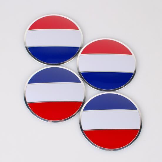 4pcs/set 56.5mm France Flag Car Styling Aluminum alloy Center Wheel Cover Labeling Emblem Car Sticker Badge