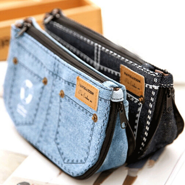 Jean Blue Women's Makeup Bag Denim Canvas Purse Phone Bag For Travel Ladies Pouch Women Cosmetic
