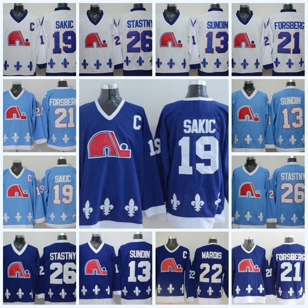 Quebec Nordiques Hombres 19 Joe Sakic 13 Mats Sundin 26 Peter Stastny 21 Peter Forsberg 22 Mario Marois Vintage Hockey Jerseys
