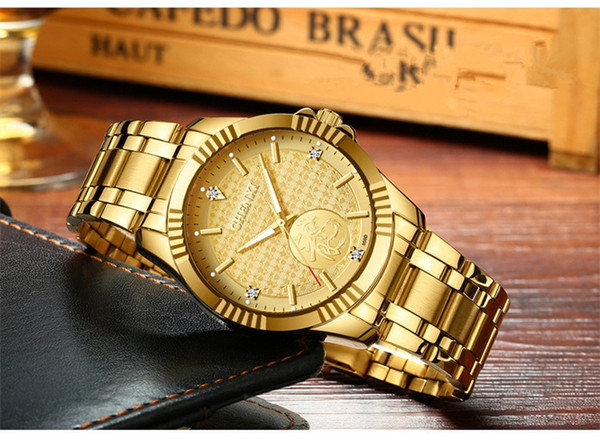 Best selling stainless steel high quality luxury men's gold watch business casual men's sports calendar waterproof quartz watch gift table