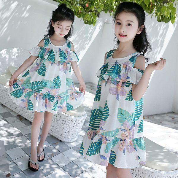 2018 Korean New Pattern Summer Girl Western Style Strapless Dress Leaf Princess Skirt Woman Baby Fashion Sandy Beach Skirt