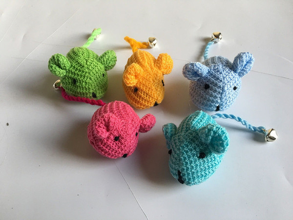 best selling Free shipping pet cat toy wool mouse for cat playing with catnip bell three colors 30pcs lot