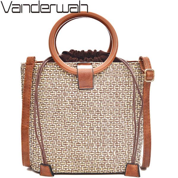 VANDERWAH Bali Bag Handgefertigte Rattan Stroh Taschen Markendesigner Strandtasche Damen Böhmische Handtaschen String Damen Umhängetasche