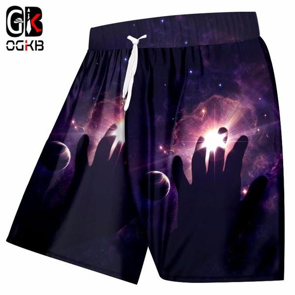OGKB Yaz Erkekler Şort Siyah Serin Baskı Bulutsusu Yıldız 3D Plaj Kurulu Şort Adam Hiphop Hızlı Kuru Su Geçirmez Boksörler Pantolon