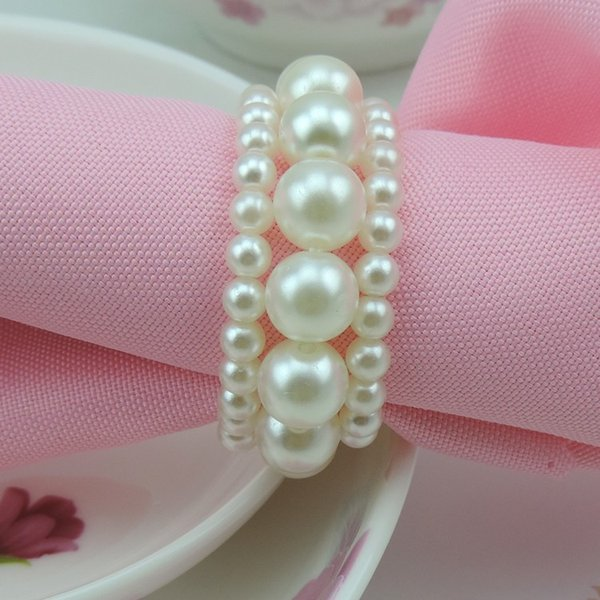 New Shiny White Round Imitation Pearls Portatovaglioli per cena di matrimonio, docce, vacanze, Accessori per la tavola