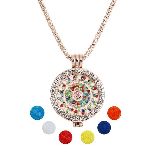 Medallones de oro collar con diamante completo mi moneda encantos difusor Añadir aceite esencial bricolaje joyería de aromaterapia con 6pcs almohadillas