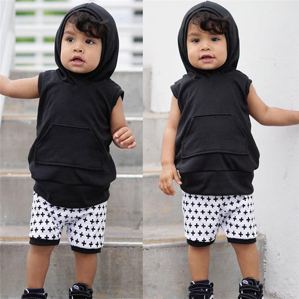 Summer Fashion Hooded Vest Top Cotton Shorts Outfits 2pcs Newborn Infant Baby Boy Girls Clothes Set