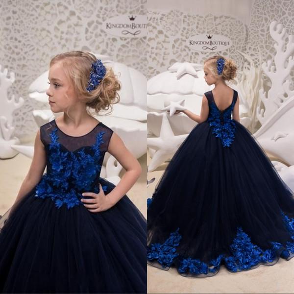 Benutzerdefinierte Marineblau Prinzessin Blume Mädchen Kleider Hand Made Blume Applique Girls Formal Pageant Party Kleider Geburtstag Weihnachten Halloween