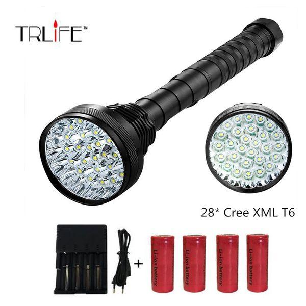28xCree XML-T6 Tragbare Super Helle Taktische Taschenlampe, Hohe 50000 Lumen Scheinwerfer Suchscheinwerfer Indoor / Outdoor Mit 4 stücke * 26650
