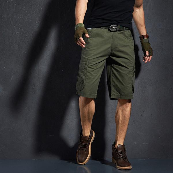 Mens été lâche coton multi-poche cargo shorts sports de plein air randonnée escalade résistant aux intempéries respirant genou longueur pantalon court