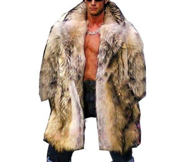 Men's winter Korean version of European and American casual fashion personality trim body warm big size raccoon fur coat / S-6XL