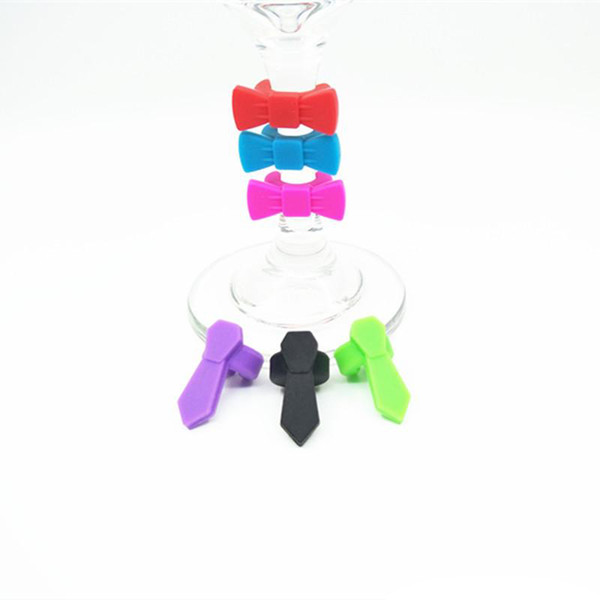 6PCS/SET = 3PCS Bow + 3PCS Tie Wine Cup Recognizer Creative Party Dedicated Silicone Wine Glass Marker