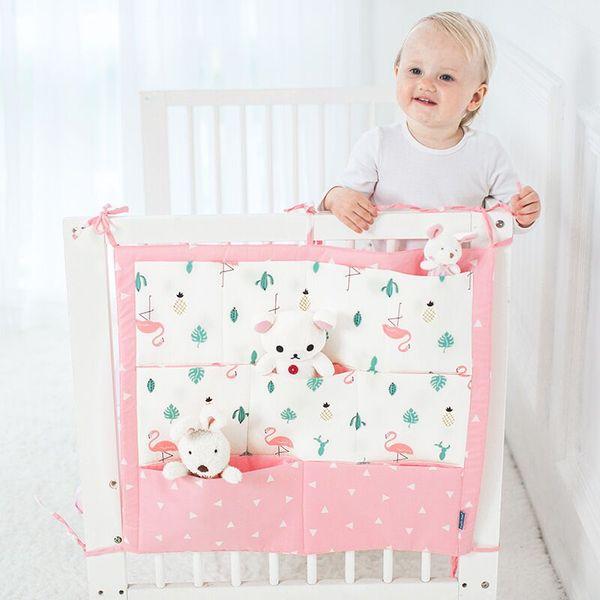 Muslin Tree Bed Hanging Storage Bag Baby Cot Bed Brand Baby Cotton Crib Organizer 50 *60cm Toy Diaper Pocket For Crib Bedding Set
