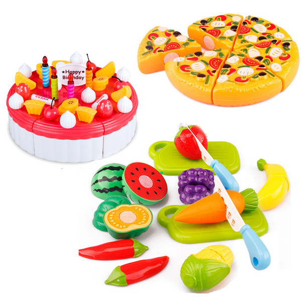 6pcs/set Hot Children Play House Toys Plastic Fruit Vegetables Cake Pizza food cutting toys Kitchen toys set
