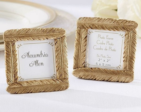 200pcs Creative Gold Resin Feather Photo Frame Place Card Holder Wedding Decoration Favors Bridal Shower Party Gift