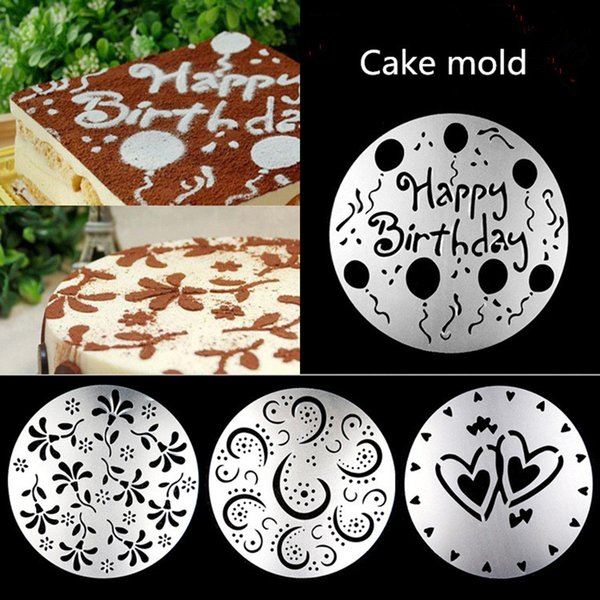 4pcs/lot Cake Stencils Latte Art Birthday Printing Mold Decor Wedding Cooking BBQ Party Kitchen Pastry Snacks maker cutting dies