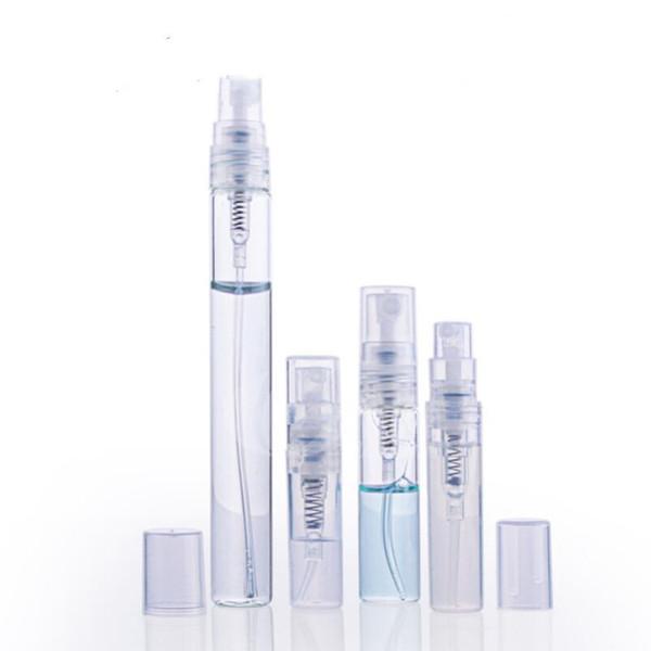 2ml 3ml 5ml 10ml Botella de perfume de plástico / vidrio, Botella de aerosol recargable vacía, Frascos de muestra de atomizador de perfume pequeño LX3945