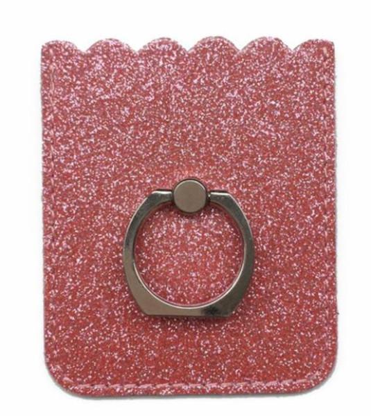 Moda Glett Couro Nome Do Cartão de Identificação de Crédito de Negócios Titular brilhante anel de telefone gradiente dedo PU Leather phone stand titular