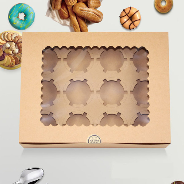 New 10pcs/lot Window Cupcake Box with Insert Fits 12 Standard Size Cupcakes Clay Coated Kraft Paper board, Insert Lock Corner Bakery Boxs