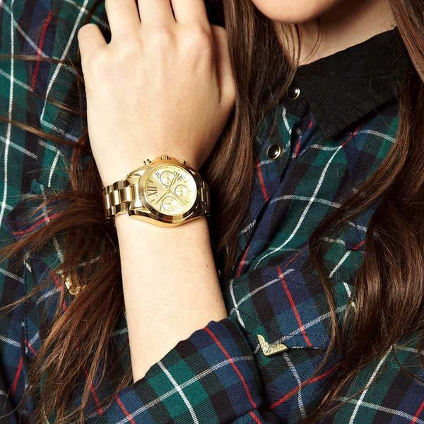 2018 новый женский Bradshaw Chrono 100 м золотой тон нержавеющей стали часы 5798 Goldtone женские часы