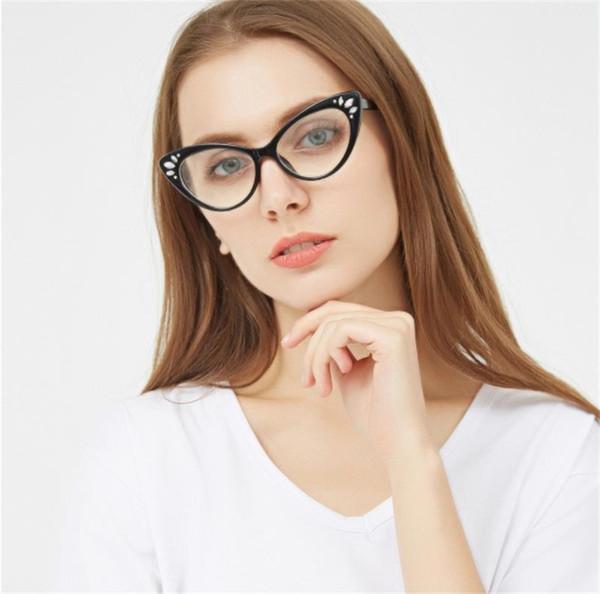 cb3939ff5c5 2018 cat eye glasses frame women Vintage transparent Rhinestone eyewear  frames luxury clear Pink nerd fashion