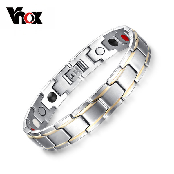 Vnox Trendy Magnet Bracelet Bangle for Women Men Stainless Steel Health Care Magnetic Germanium Energy Power Male Casual Jewelry Y1891709