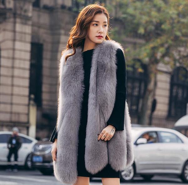 Élégant Faux Fourrure De Fox Gilet D'hiver Sans Manches Veste Manteau Gilet Gilet Outwear Casual Mode Lady Gilet Gilet pour les Femmes