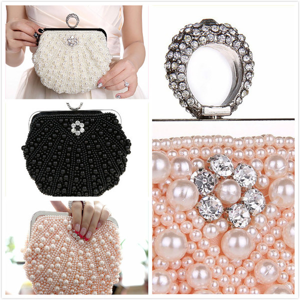 Beautiful Heart 2018 rhinestones women evening bags imitation pearl lady's handle evening bag finger ring diamonds small clutches