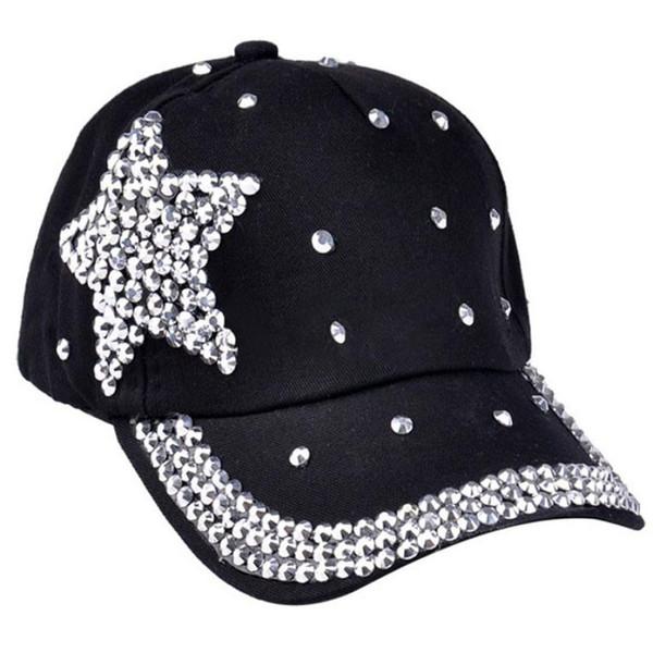 Children Cap For Girls 2016 Fashion women's hats Baseball Cap Rhinestone Star Shaped Boy Girls Snapback Hat 5 Colors hat