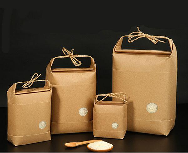 100 adet Yeni ürün pirinç kağıdı ambalaj / Çay paketleme çantası / kraft kağıt torba Gıda Depolama Ayakta Kağıt