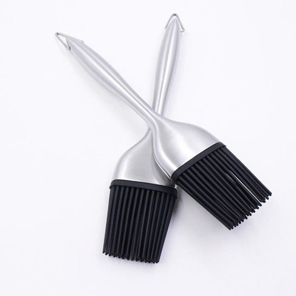 Silicone Basting Brushes Bbq Stainless Steel Handle Oil Brush Cooking Butter Bread Silicone Pastry Brush Baking F20173036