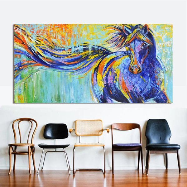 2019 Handpainted Hd Colorful Running Horse Modern Abstract Animal Art Oil Painting Home Wall Decor High Quality Canvas Multi Sizes A36 From N888