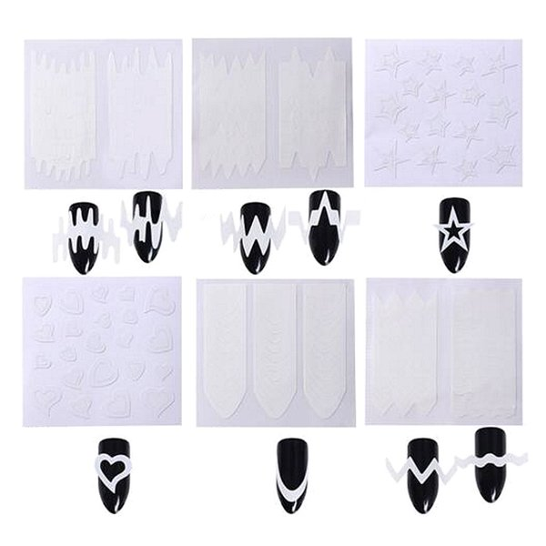 6pcs French Manicure Nail Art Tips Form Guide Sticker Polish DIY Styling Tool