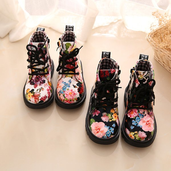 Cute Girls Boots Fashion Elegant Floral Flower Print Kids Shoes Baby Martin Boots Casual Leather Children Boots