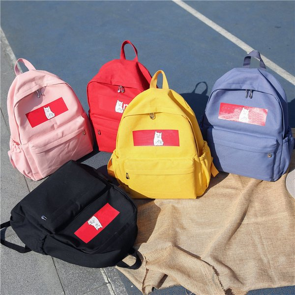 New Fashion Tide Brand SPU Shoulder Outdoor Traveling Letter Printed Schoolbags for Men Women Students Backpacks Cute Funny Bags