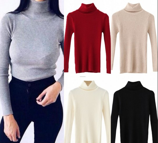 Heißer Verkauf Herbst Winter Frauen Pullover Pullover Grau Gestrickte Elastische Beiläufige Jumper Mode Schlank Rollkragen Warme Weibliche Pullover FS5797