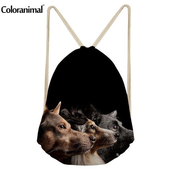 Coloranimal 2018 Neues Design Frauen Mini Kordelzug Schule Mini Rucksack Cute Puppy Dog Greyhound Drucken Herren String Rucksack