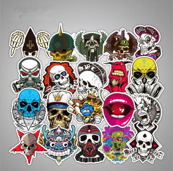 top popular 52Pcs lot Brand Skull Graffiti Cartoon Stickers For Laptop Luggage Notebook Skateboard Snowboard Car PVC Waterproof Stickers 2019