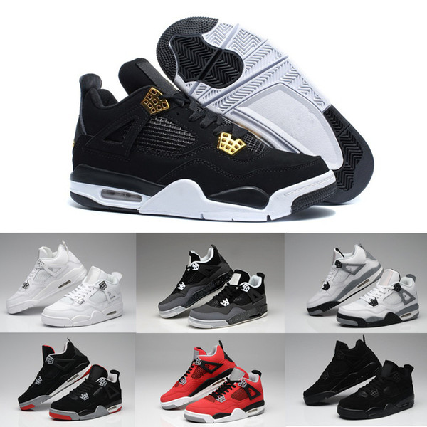 High Quality Man Sneakers 4s Basketball Shoes 4 Authentic IV Boots White Cement Fire Red Bred Bulls Women Sport Shoes Free Shipping