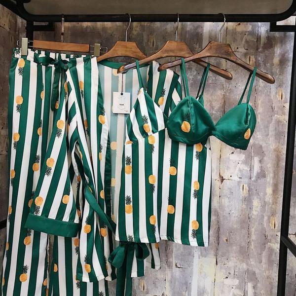 Robe + Sling + Pant + Bra Four-piece 2018 New Spring Autunno Stampa donna pigiama di seta per donna pigiameria per il tempo libero in raso da notte