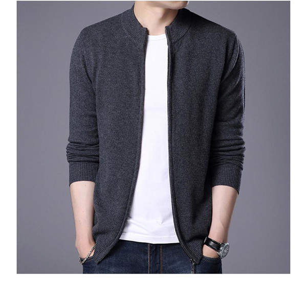 Cardigan sweater sheep men's fashion business men's clothing of autumn new fund pure color knit men jacket ZH-026
