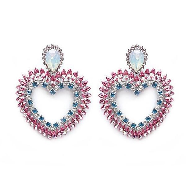 Rongho brand Opal crystal big Heart stud earrings for women Hiphop earrings fashion jewelry rhinestone heart pendant brincos