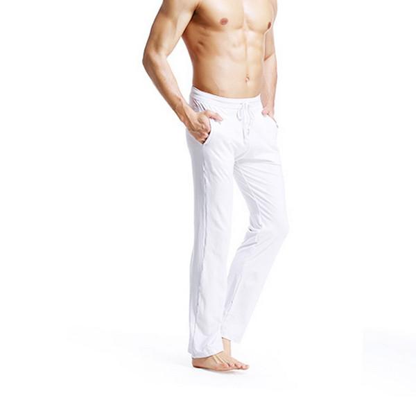 CALOFE Solid Color Thin Long Pants Slim Fit Straight Men's Cotton Pajama Pants Men's Large Size Trousers Long Sleepwear