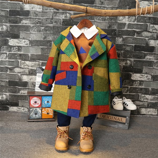 Foreign Trade 2018 Fall Winter Children's Fashion Plaid Woolen Coat Little Boys Leisure Wool Jacket Kid Multicolor Overcoat A205